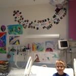 Josh in his colorful hospital room.